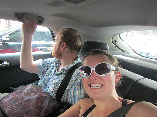 Me and Ranald in the car