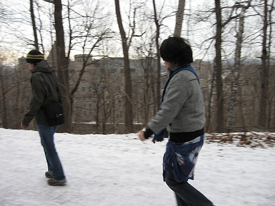 Slippery trail, Valerie and Wai-Yin
