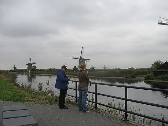 Dad and Tessa with windmills