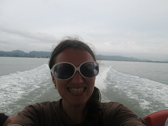 Me on fast ferry to Haiphong