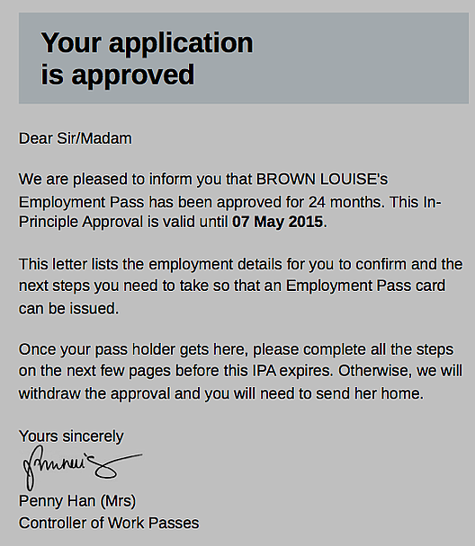 Wow! A work visa BEFORE I go! How refreshing!
