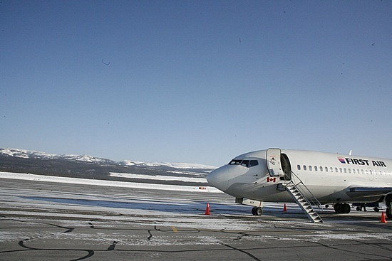 Our plane and the runway