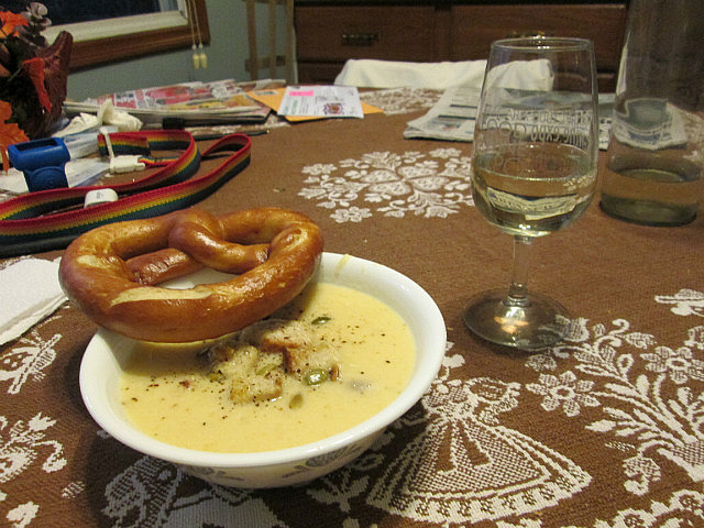 Pumpkin soup and pretzel