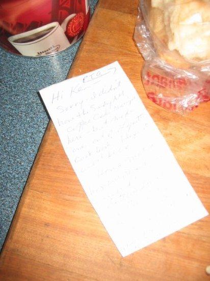 Cute note to Ken, love Mom