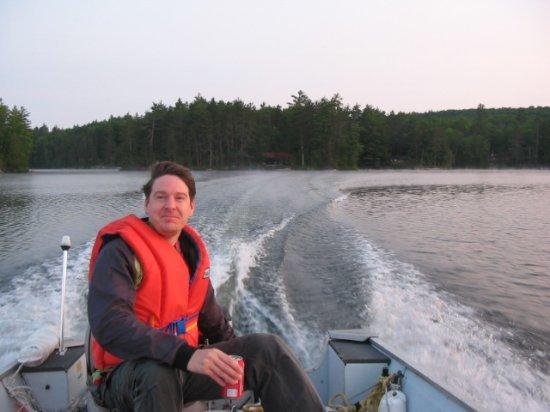 Ken on the little boat