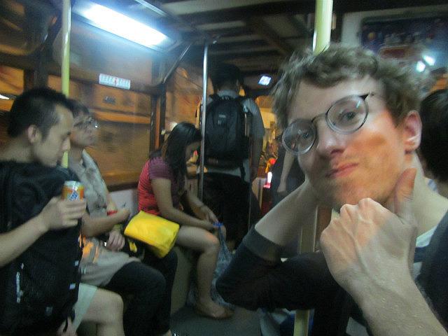 Stuart's first tram ride minus flash