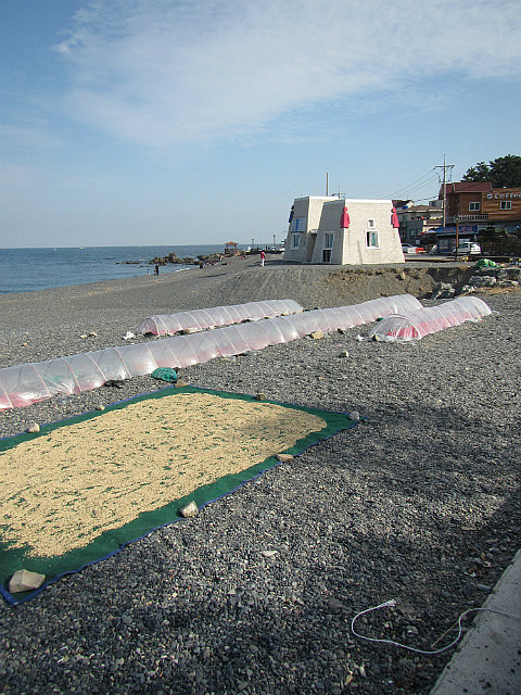 Black pebble beach