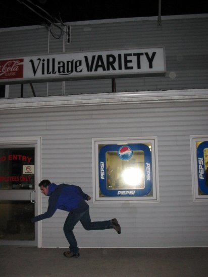 Chris outside Shannonville gas station