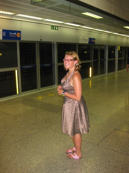 Me in the subway with new dress