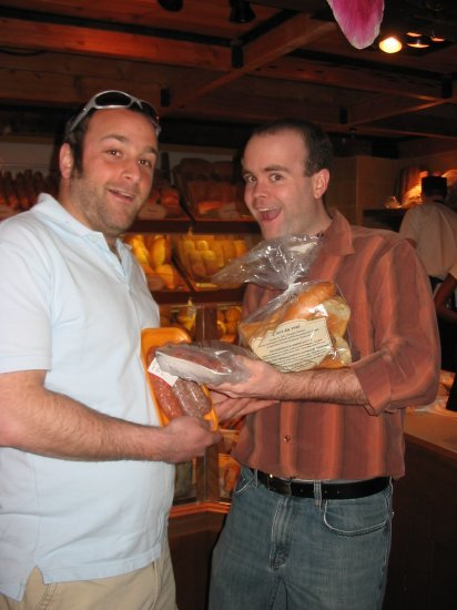 Andrew and nick buying baguettes