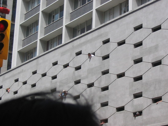 People coming out of the wall