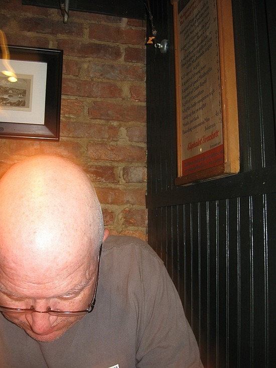 Owen's head reflects the light