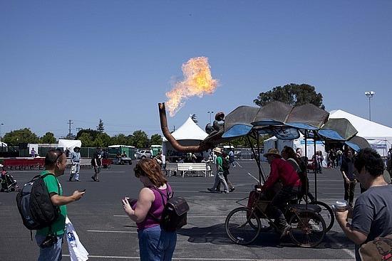 Some sort of burning man cart