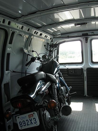 My bike in the van