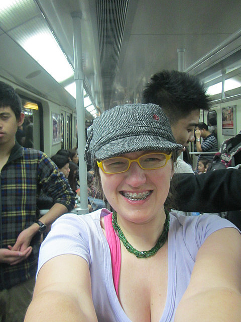 On the subway to Hong Kong