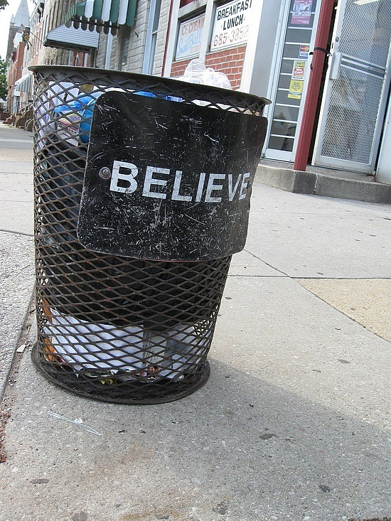 Believe in this trash can please