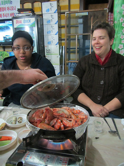 Nicole and Natalie with shrimp