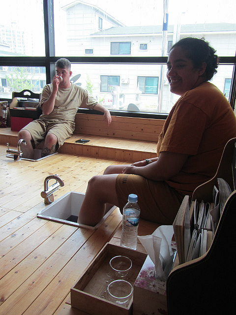 Dave and Angie in the footbath