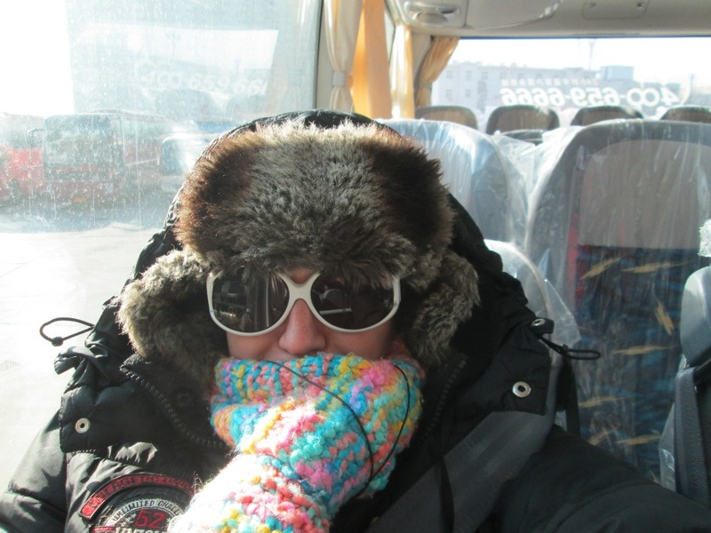 Thawing out on the new bus to Qikou