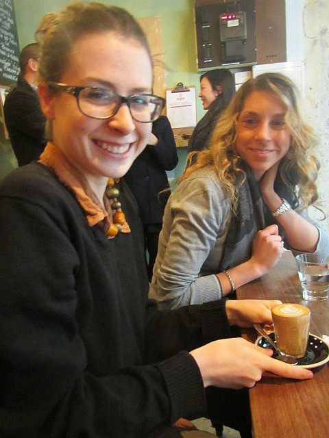 Tess, coffee and Jo