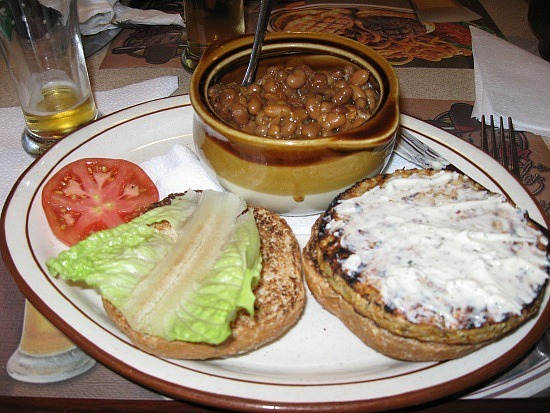 """My """"veggie"""" burger and beans WITH bacon"""