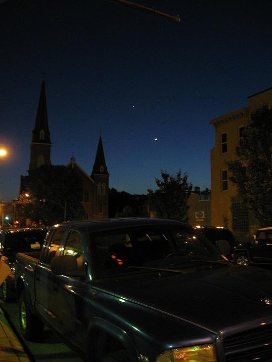 The pretty night sky outside Owen's house