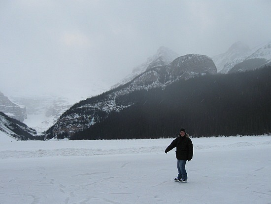 Keith skating on Lake Louise