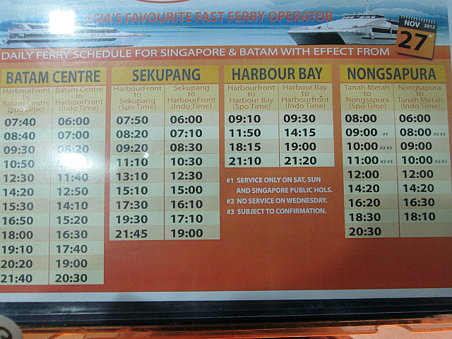 Ferry times