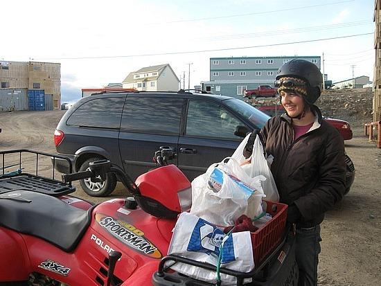 Heather loading the ATV