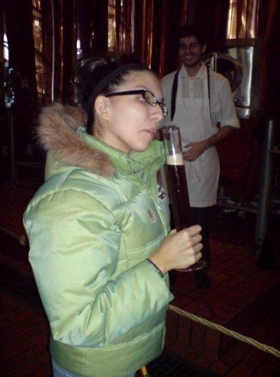 Lisa smelling beer