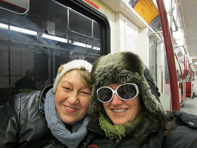 Mom and me on the subway