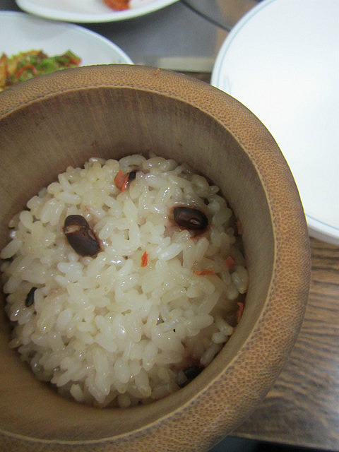 Rice cooked in bamboo