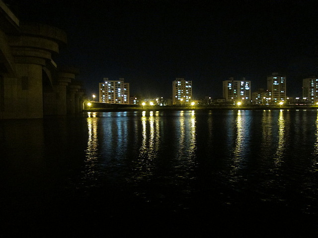 Night shot of the river.