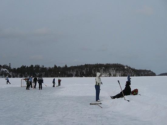 Broomball on the lake