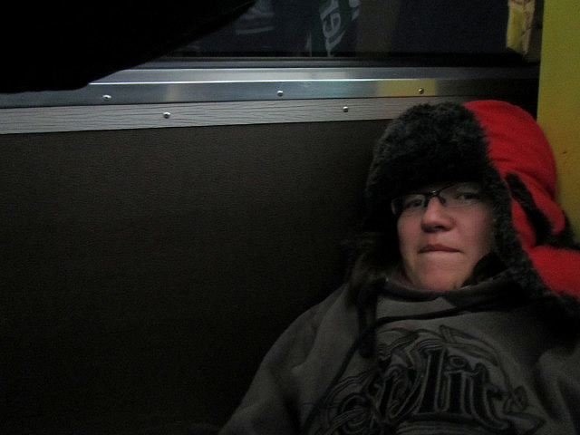 Me sick on the floor on the train