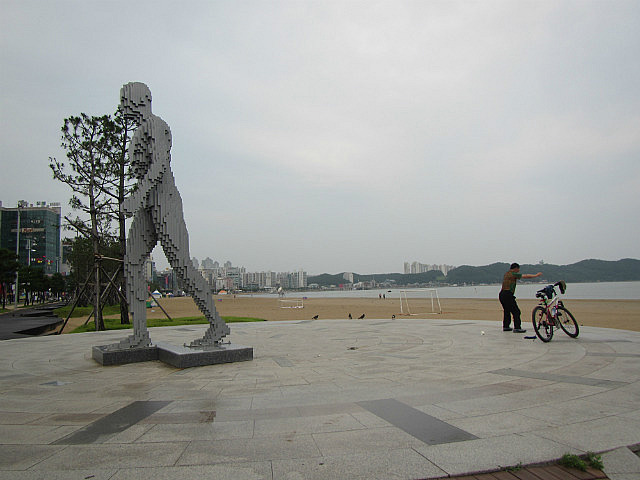 Steel man on the beach in Pohang