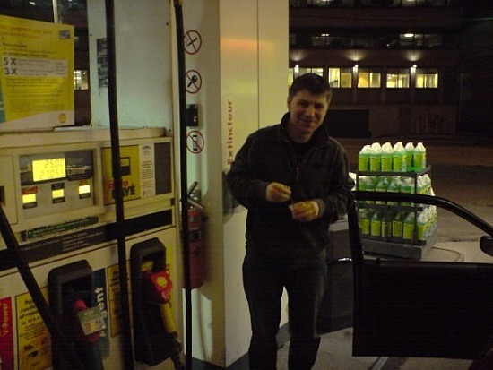 Nate getting gas in Montreal