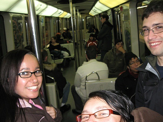 Theresa, me and Mike on the Metro