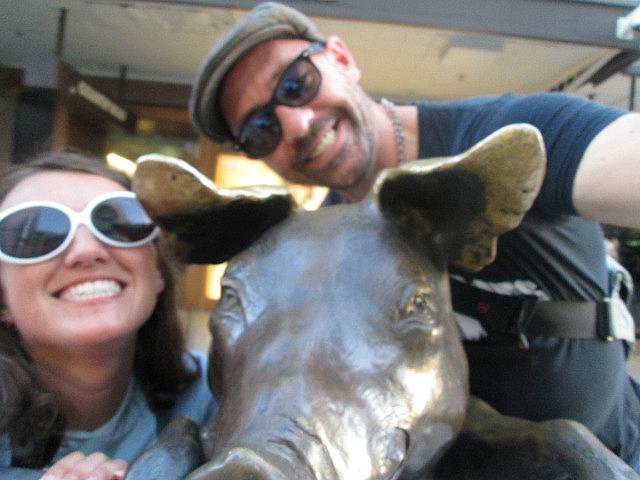 Me and Dean vs. bronze pig
