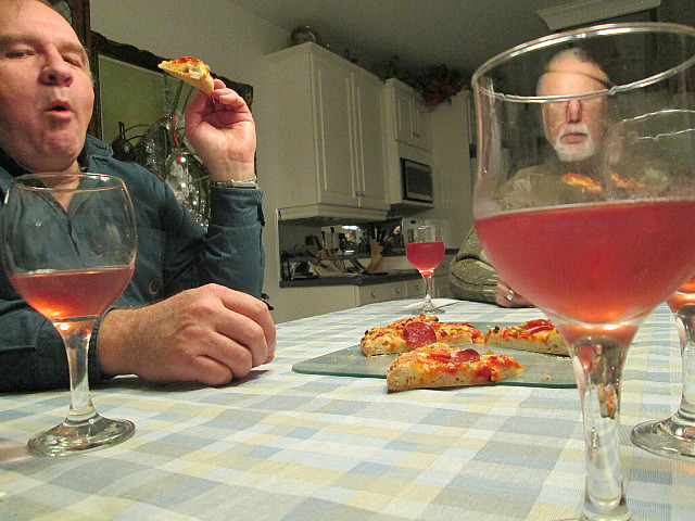 Pizza and wine at the neighbour's house
