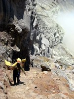 Sulphur carrier in crater