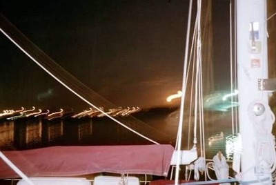 Lights after dark over our staysail boom