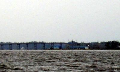 Marina  and Fixed bridge and boat anchored