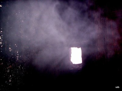 window with smoke from a peat fire