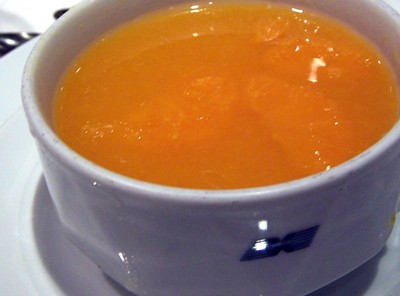 Chilled tangerine and apple soup