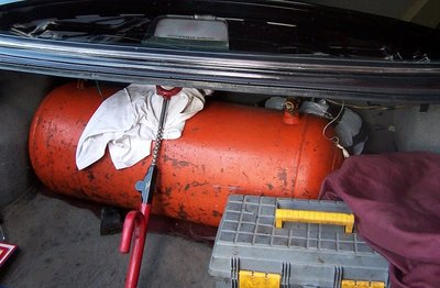 Propane tank in the trunk