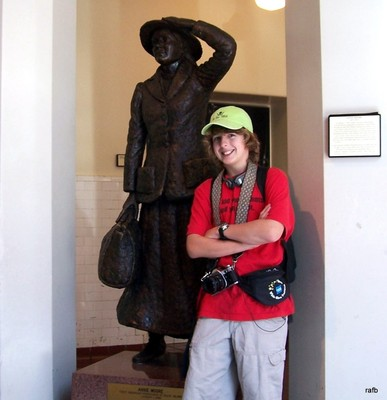 Grandson with statue of Annie