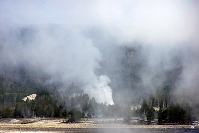 Beehive geyser from the Old Faithful Visitor's Center