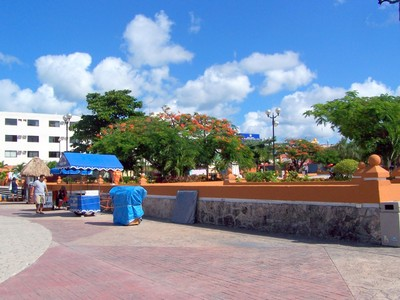 Town square with kiosks