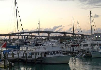 Bridges and marina at sunset